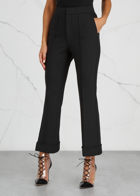 Black cropped flared cady trousers - Helmut Lang