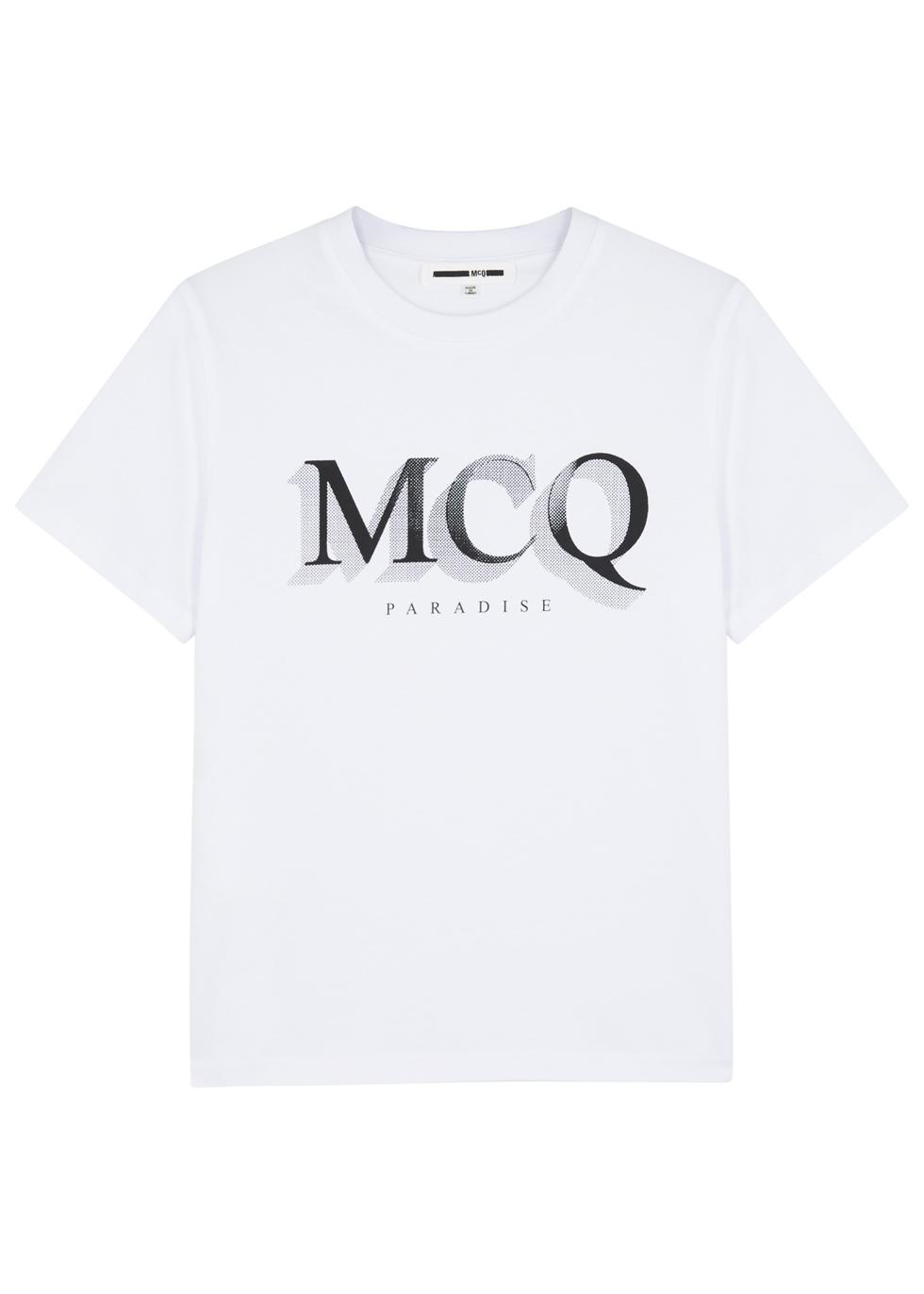 MCQ BY ALEXANDER MCQUEEN WHITE LOGO-PRINT COTTON T-SHIRT