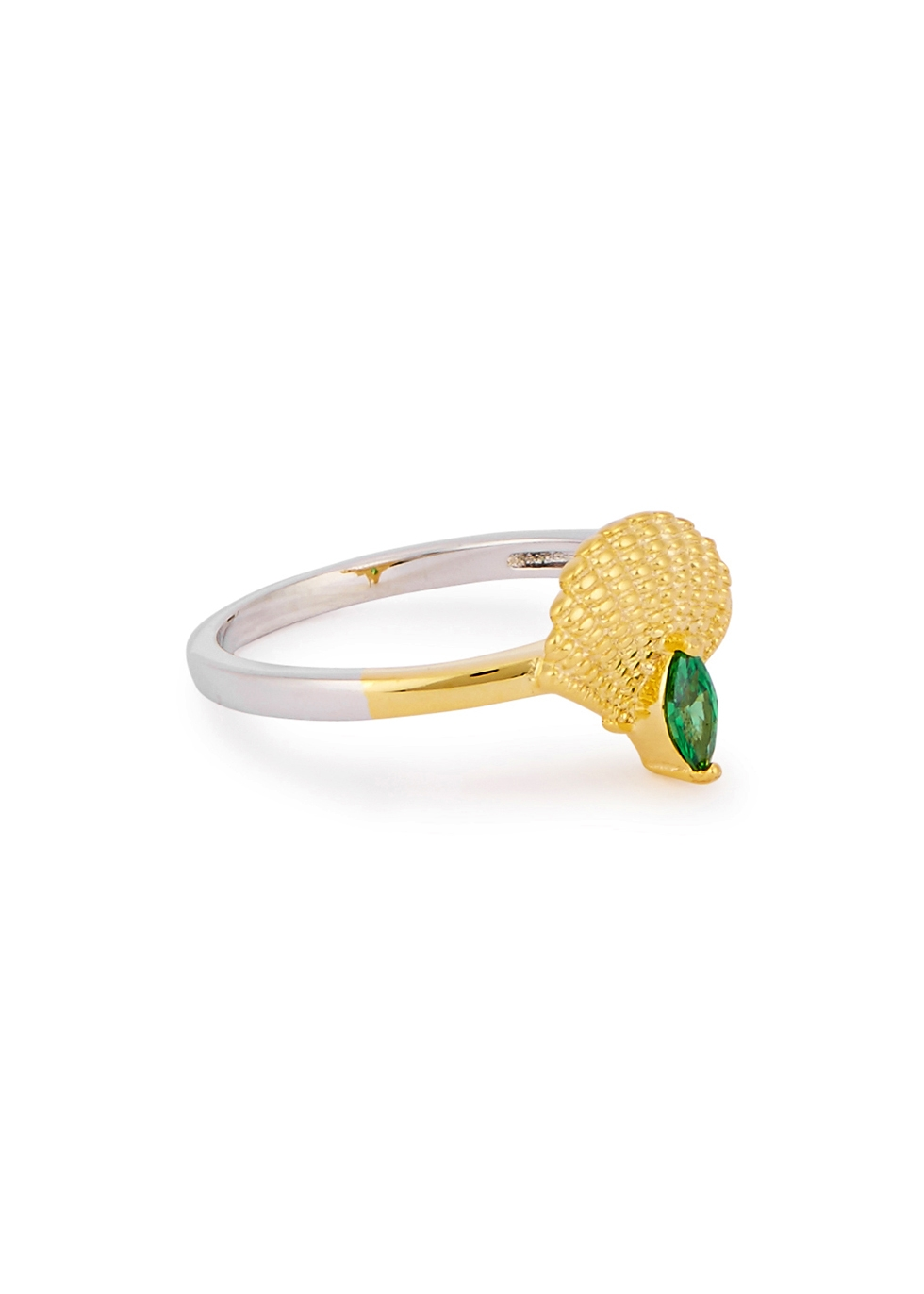 V JEWELLERY Pamela 18Ct Gold And Rhodium-Plated Ring in Metallic