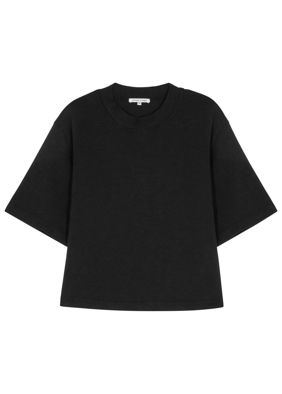 TOKYO BLACK CROPPED COTTON T-SHIRT