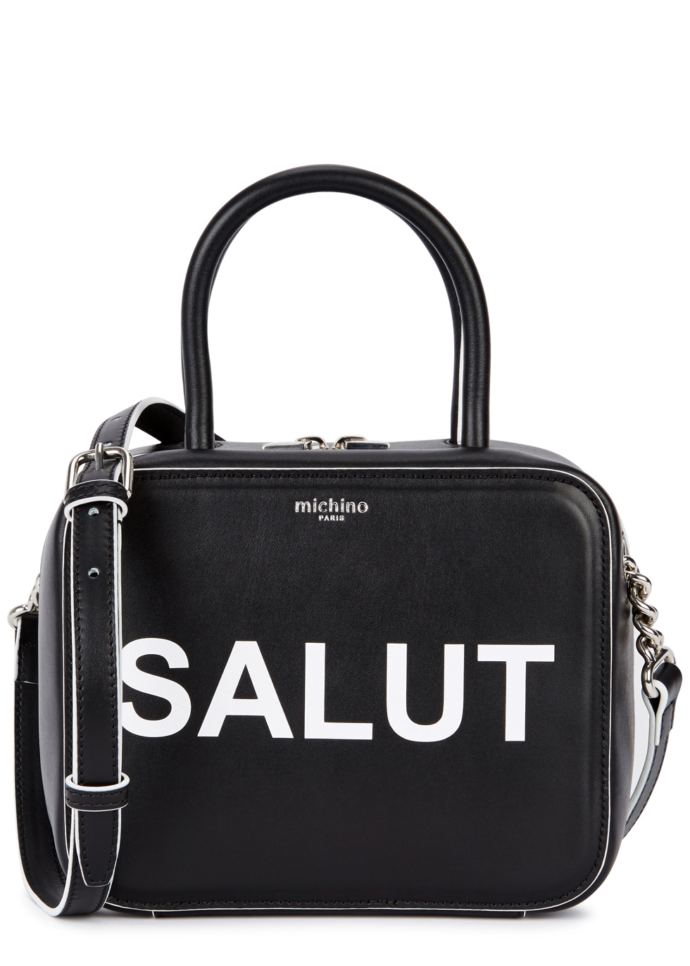 MICHINO PARIS Squarit Salut Leather Shoulder Bag in Black And White