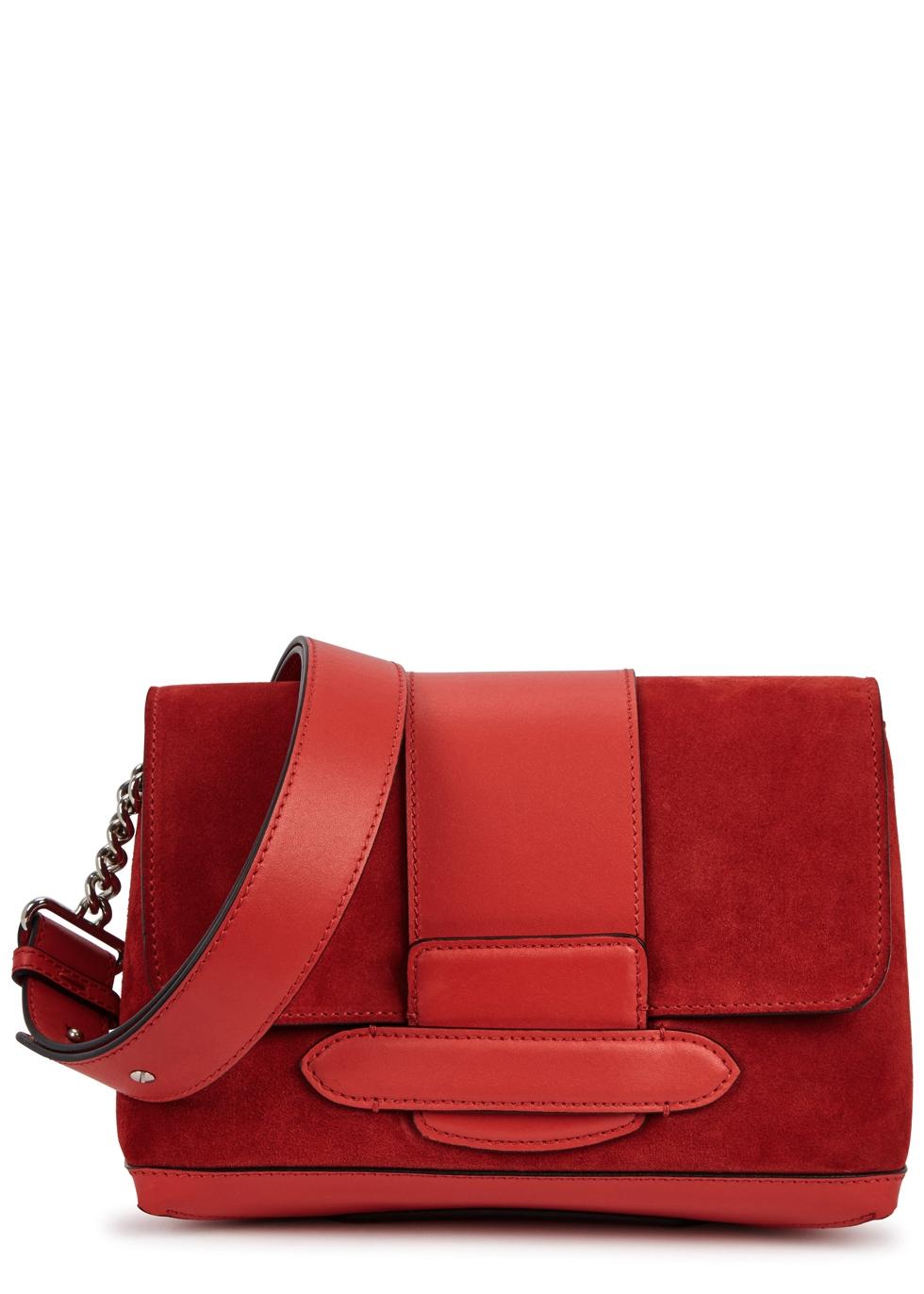 MICHINO PARIS Phedra Red Suede Shoulder Bag