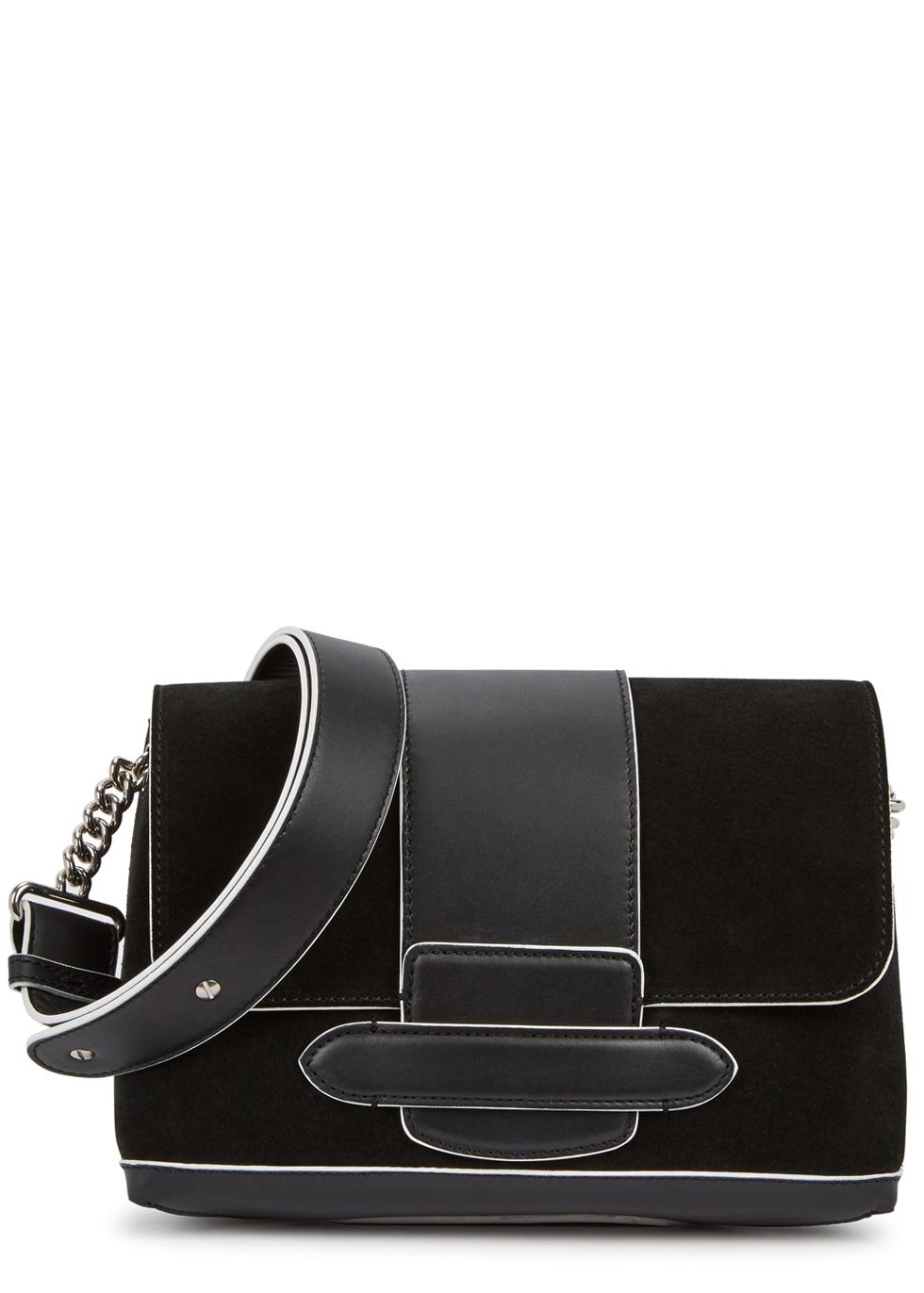 MICHINO PARIS Phedra Monochrome Suede Shoulder Bag in Black