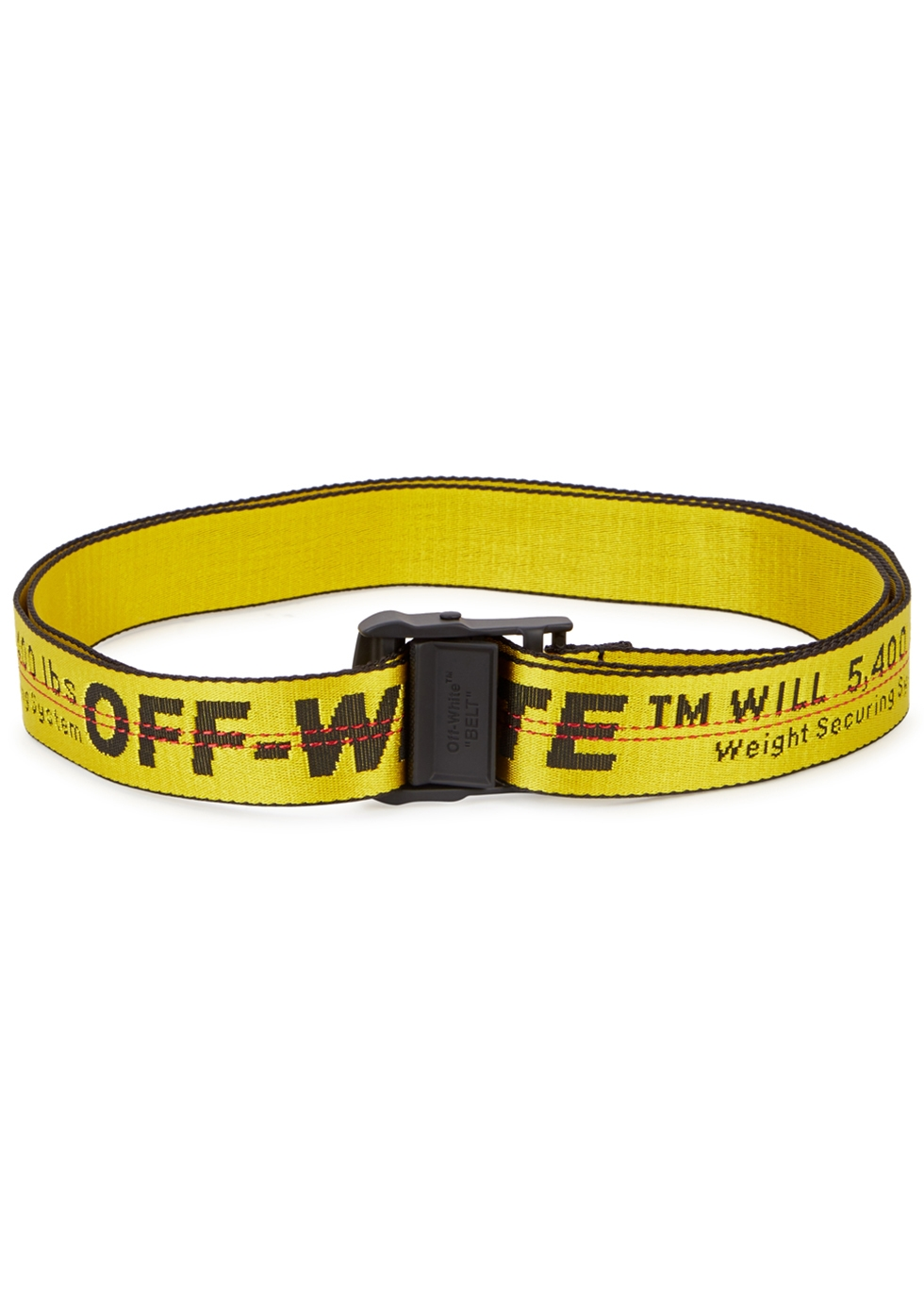 OFF-WHITE INDUSTRIAL EMBROIDERED CANVAS BELT, YELLOW