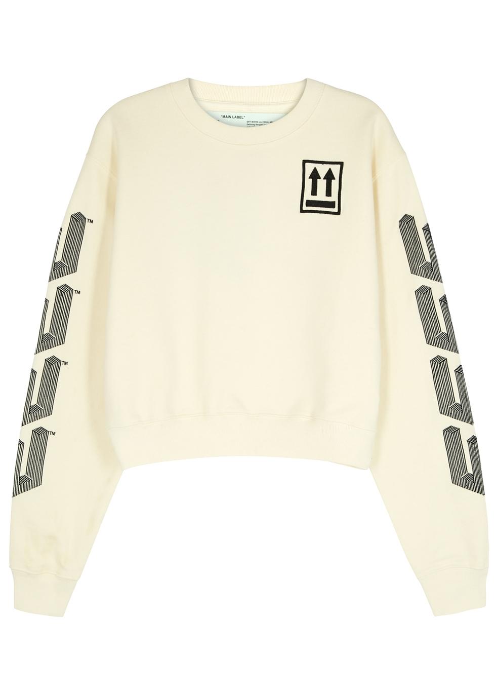 Arrow Ecru Embroidered Cotton Sweatshirt in Neutrals
