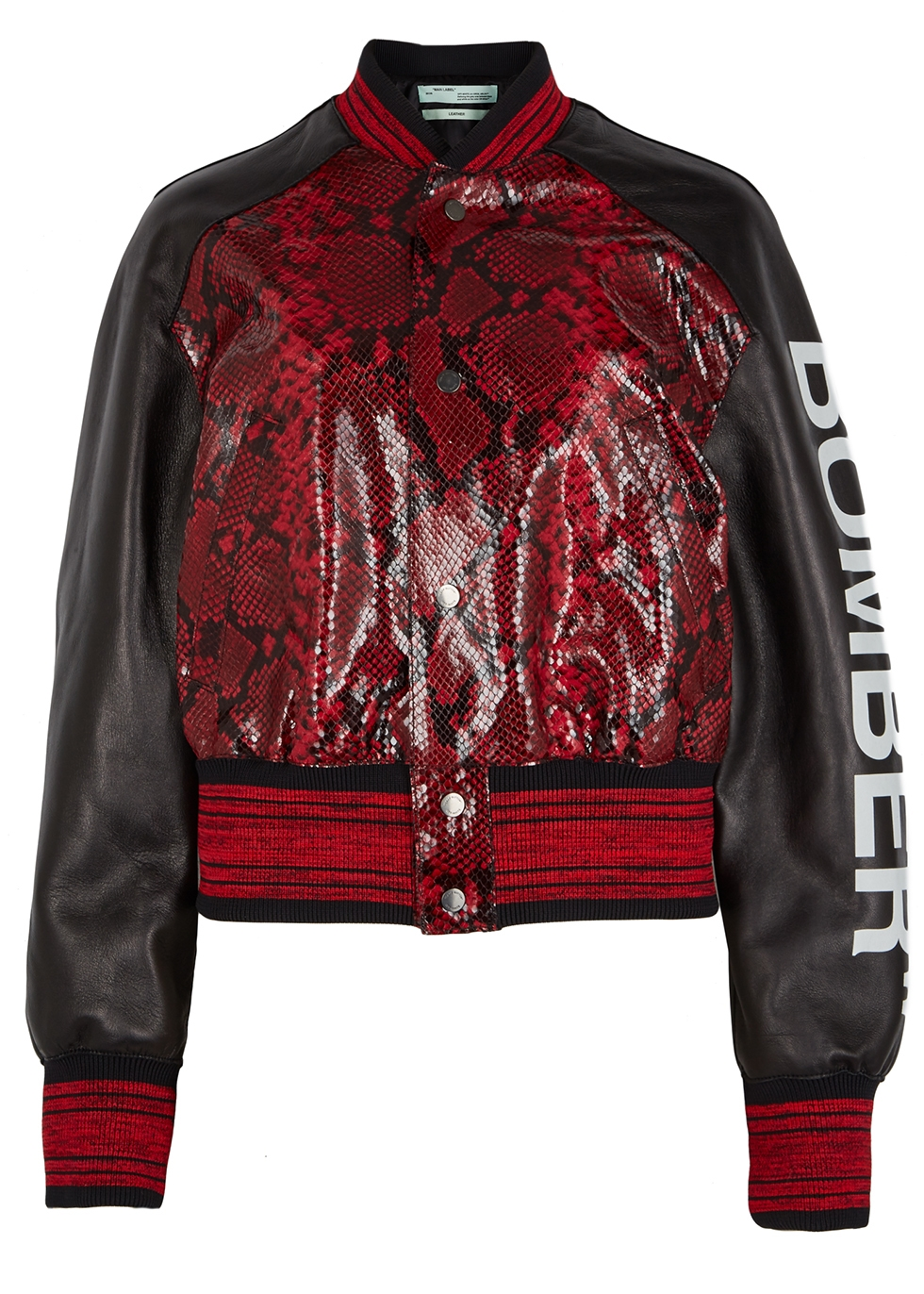 Python-Effect Leather Bomber Jacket, Red