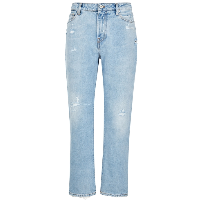 Off White Straight Leg Distressed Bleached Jeans With Fl Print Scarf In Lt