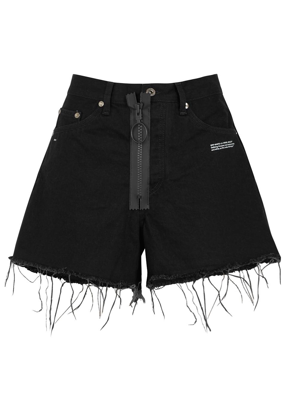 Black Appliquéd Denim Shorts