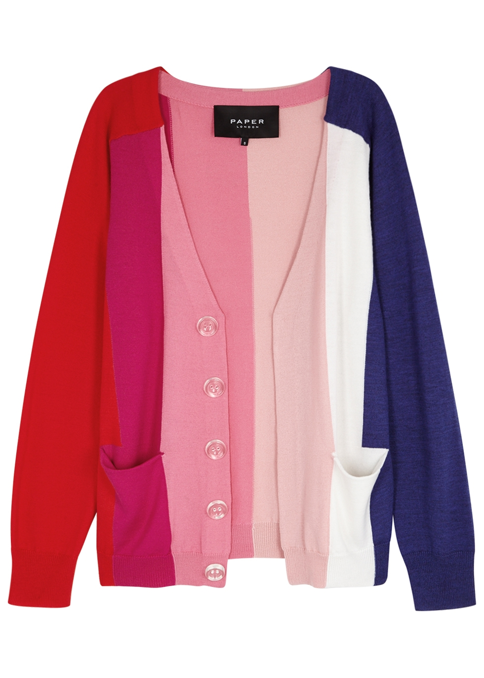 PAPER LONDON DOLLY COLOUR-BLOCK WOOL CARDIGAN