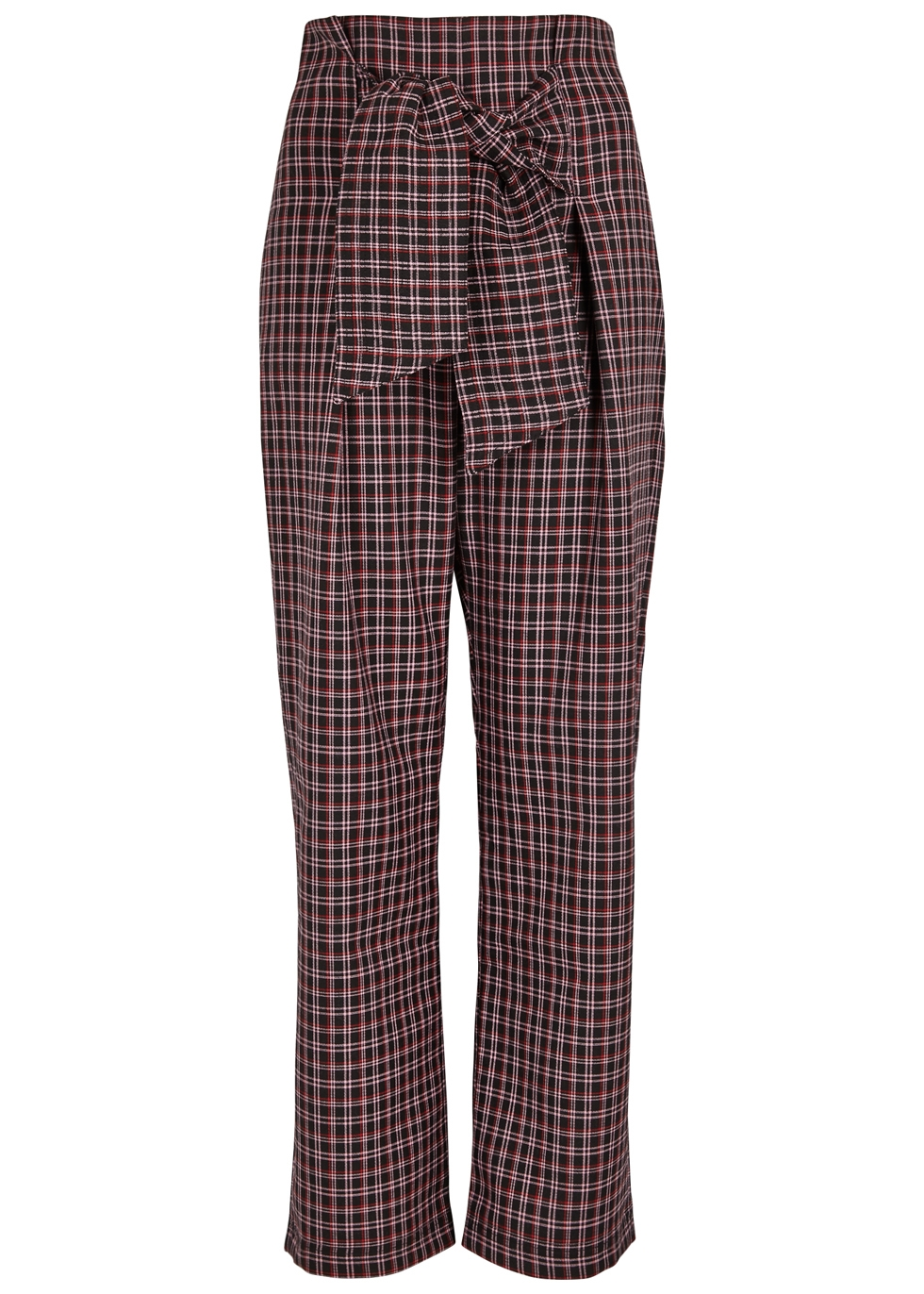 PAPER LONDON TWIN CHECKED WOOL-BLEND WIDE-LEG PANTS