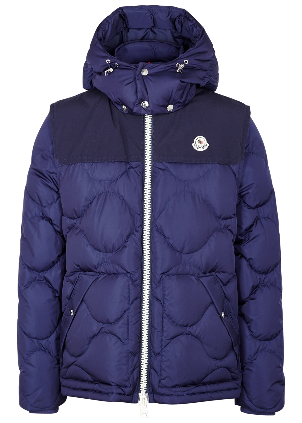 MONCLER ARLES QUILTED SHELL HOODED DOWN JACKET WITH DETACHABLE SLEEVES, ROYAL BLUE
