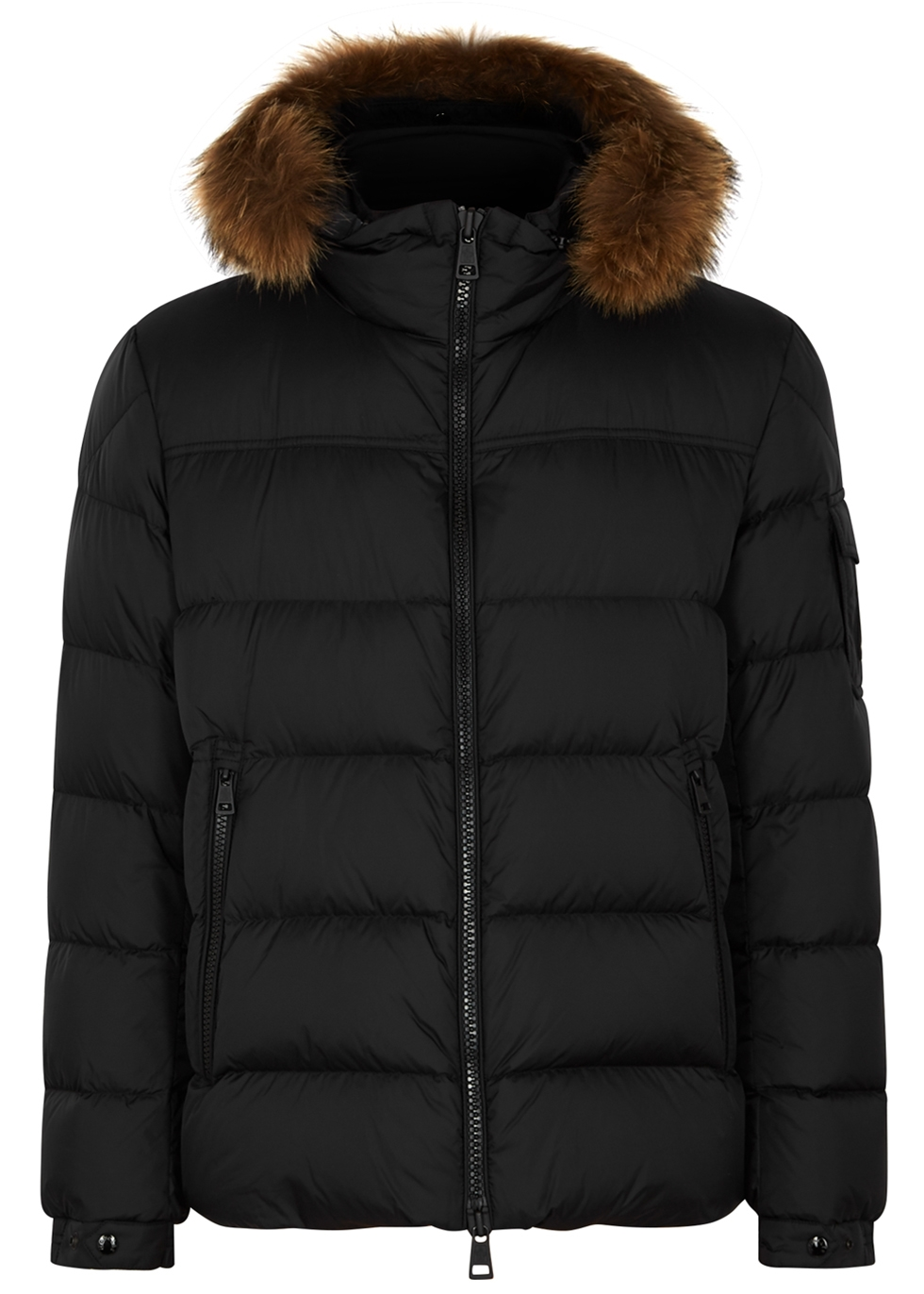 MONCLER MARQUE FUR-TRIMMED SHELL JACKET
