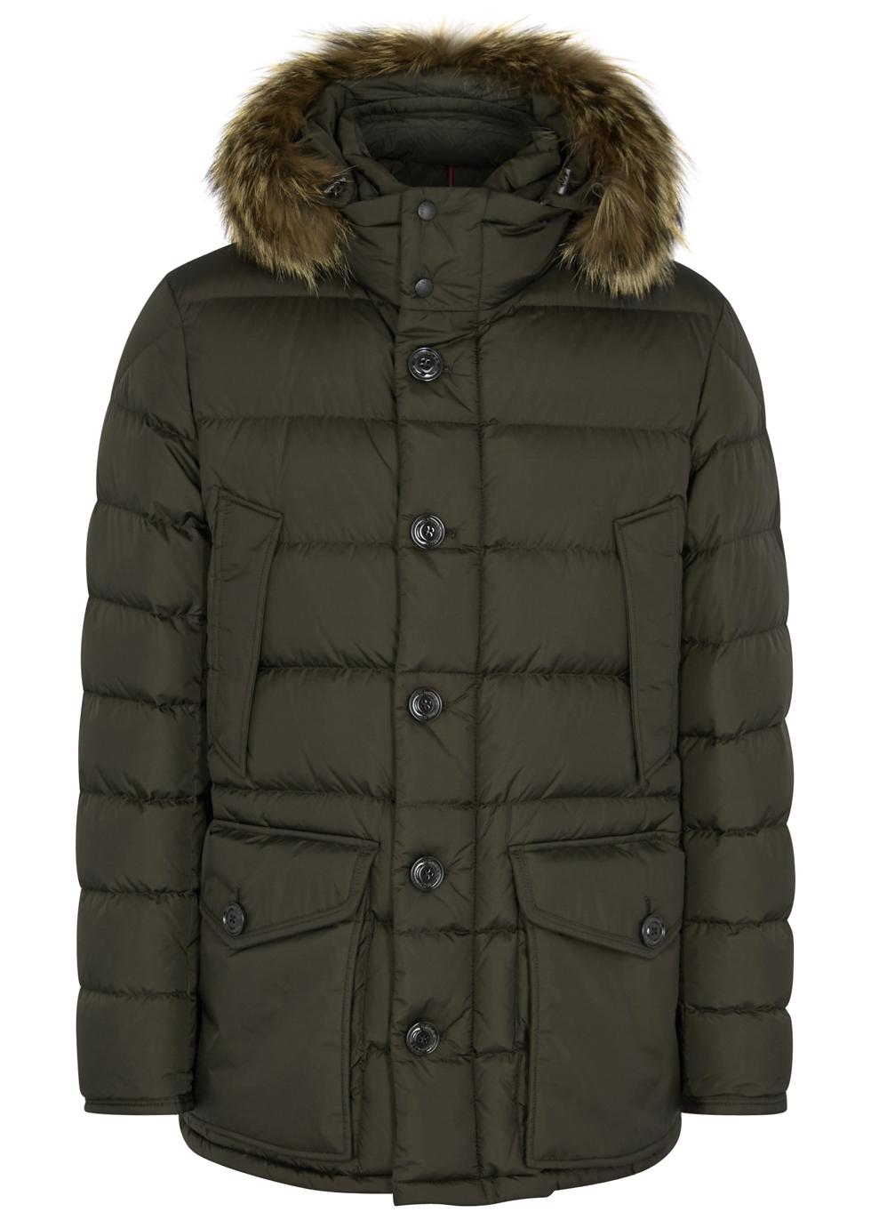 moncler cluny fur trimmed shell jacket harvey nichols rh harveynichols com