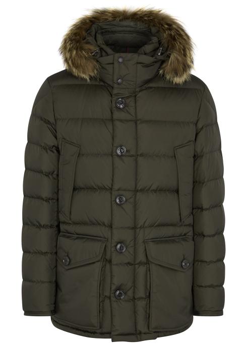 fe8c22f31 Moncler Cluny fur-trimmed shell jacket - Harvey Nichols