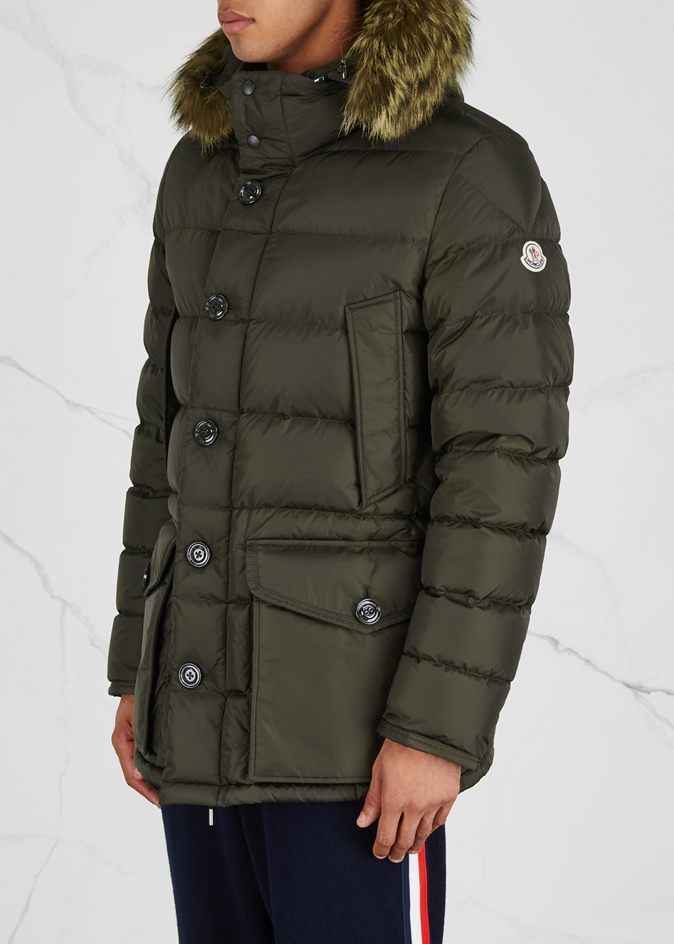 Cluny fur-trimmed shell jacket - Moncler