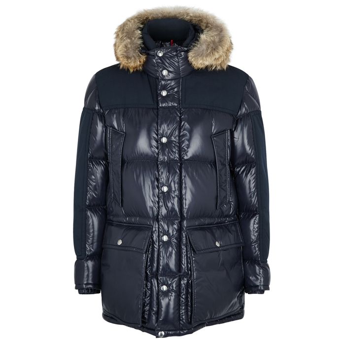 Moncler Frey Navy Quilted Shell Coat