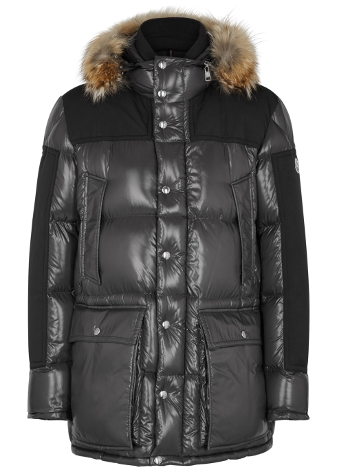 0c807e3a7 Moncler Frey charcoal quilted shell coat - Harvey Nichols