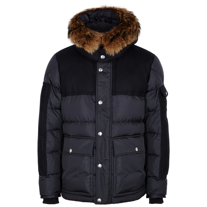 Moncler Alphand Navy Quilted Shell Coat