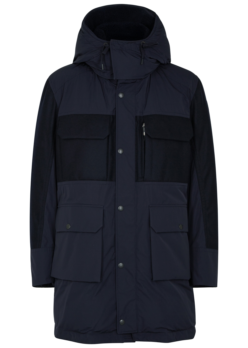 MONCLER PERRAULT NAVY WOOL AND NYLON PARKA
