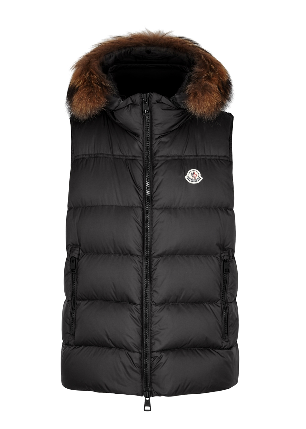 Youri charcoal fur-trimmed shell gilet - Moncler