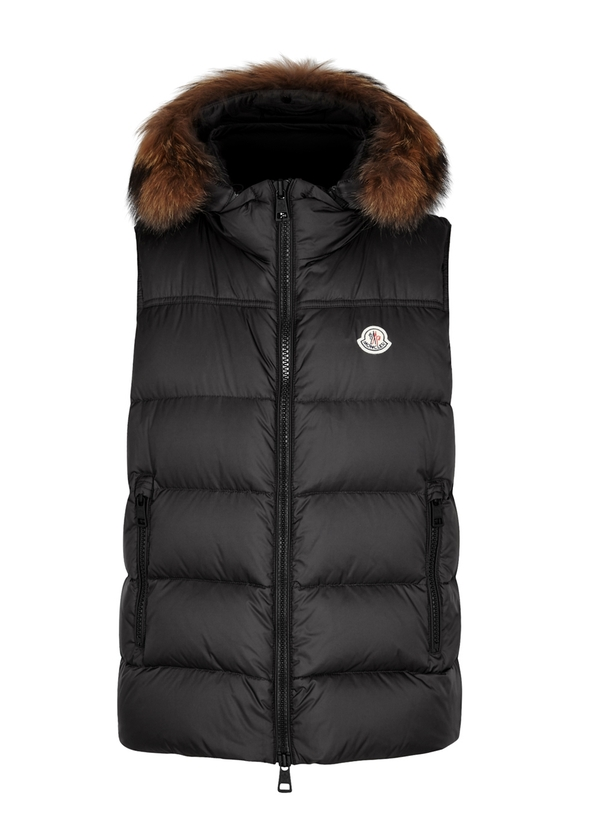 Moncler. Acorus black quilted shell jacket. £600.00 · Youri charcoal  fur-trimmed shell gilet ... 8bdabdfa714