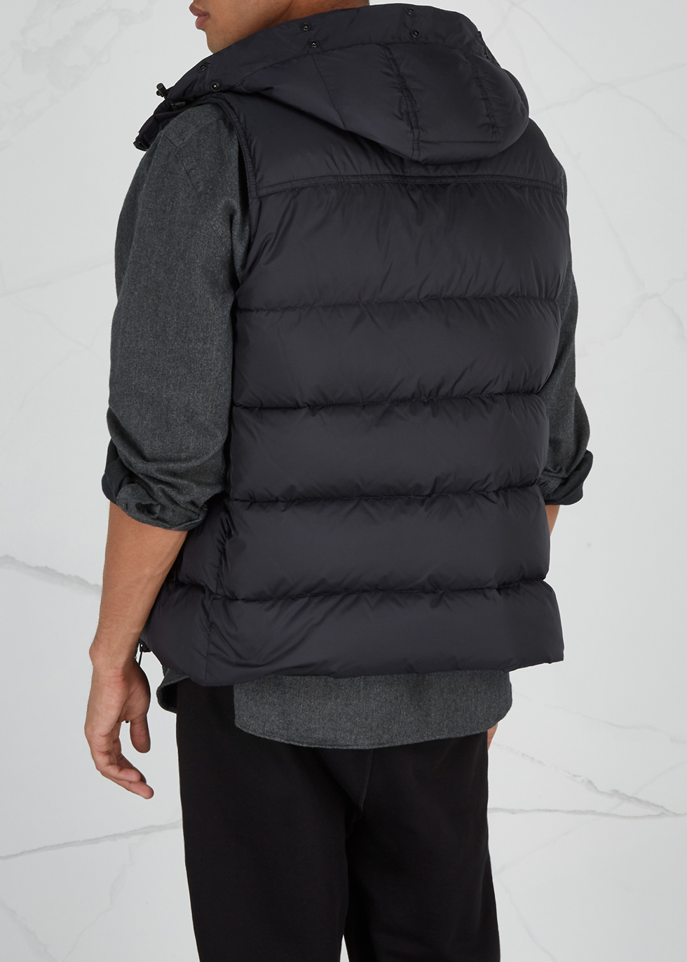 Youri navy fur-trimmed shell gilet - Moncler