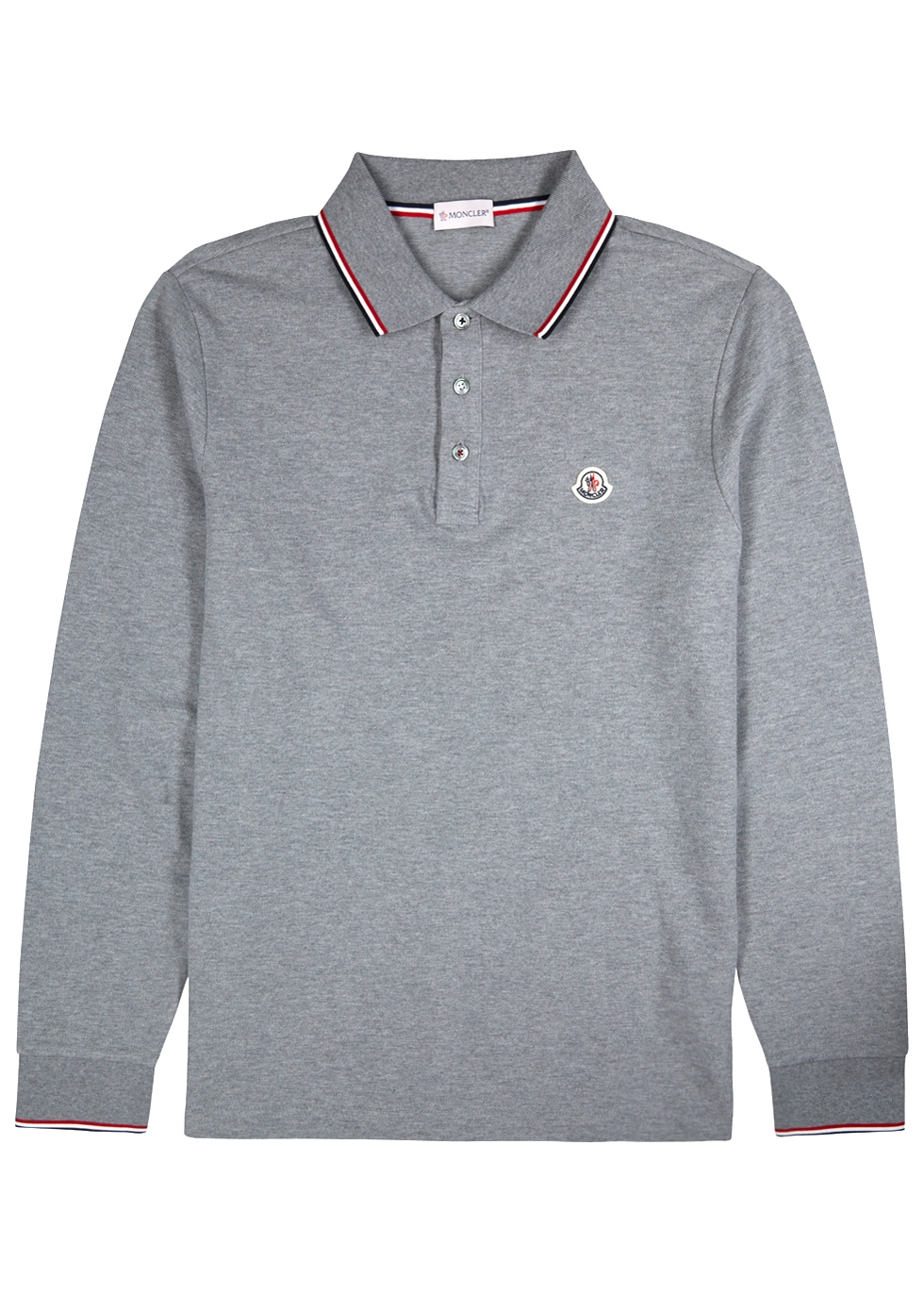 Grey piqué cotton polo shirt - Moncler