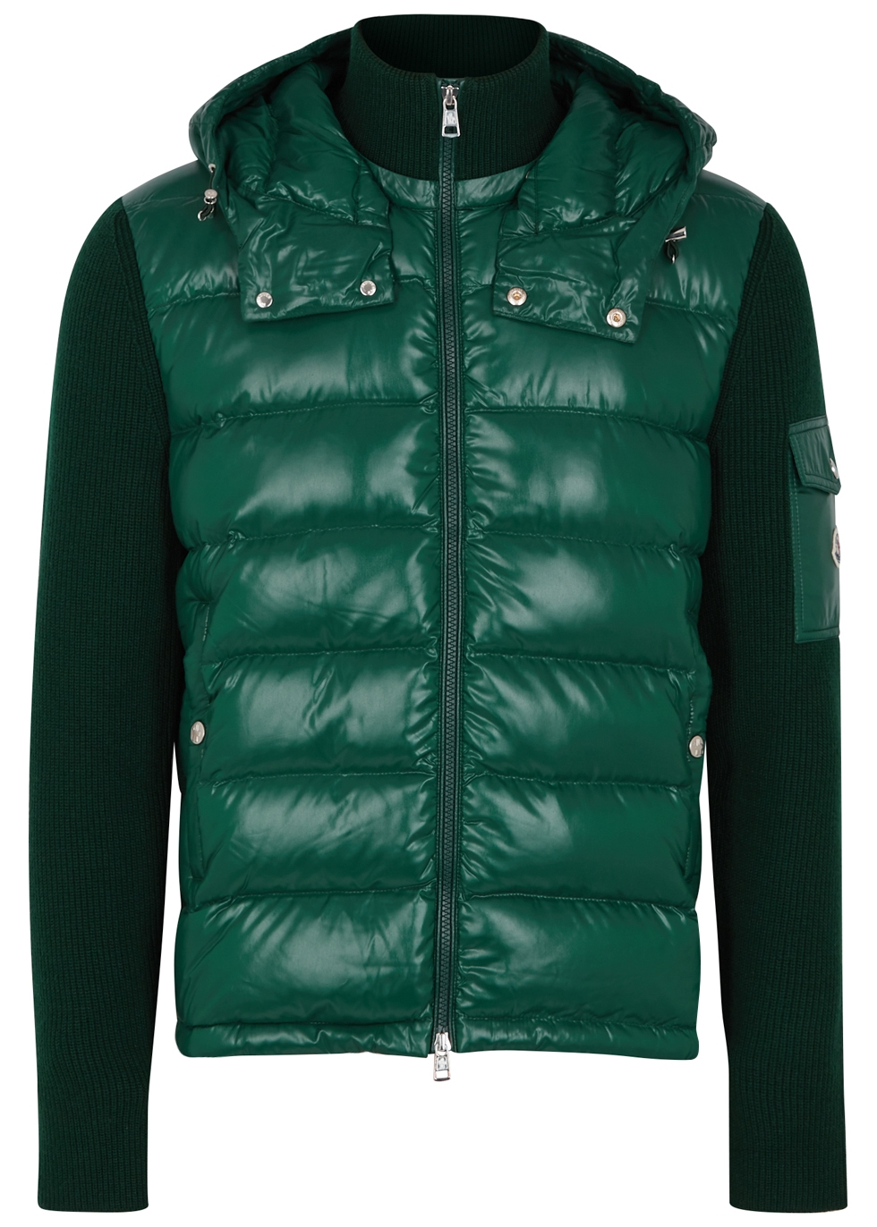 MONCLER GREEN WOOL AND SHELL JACKET