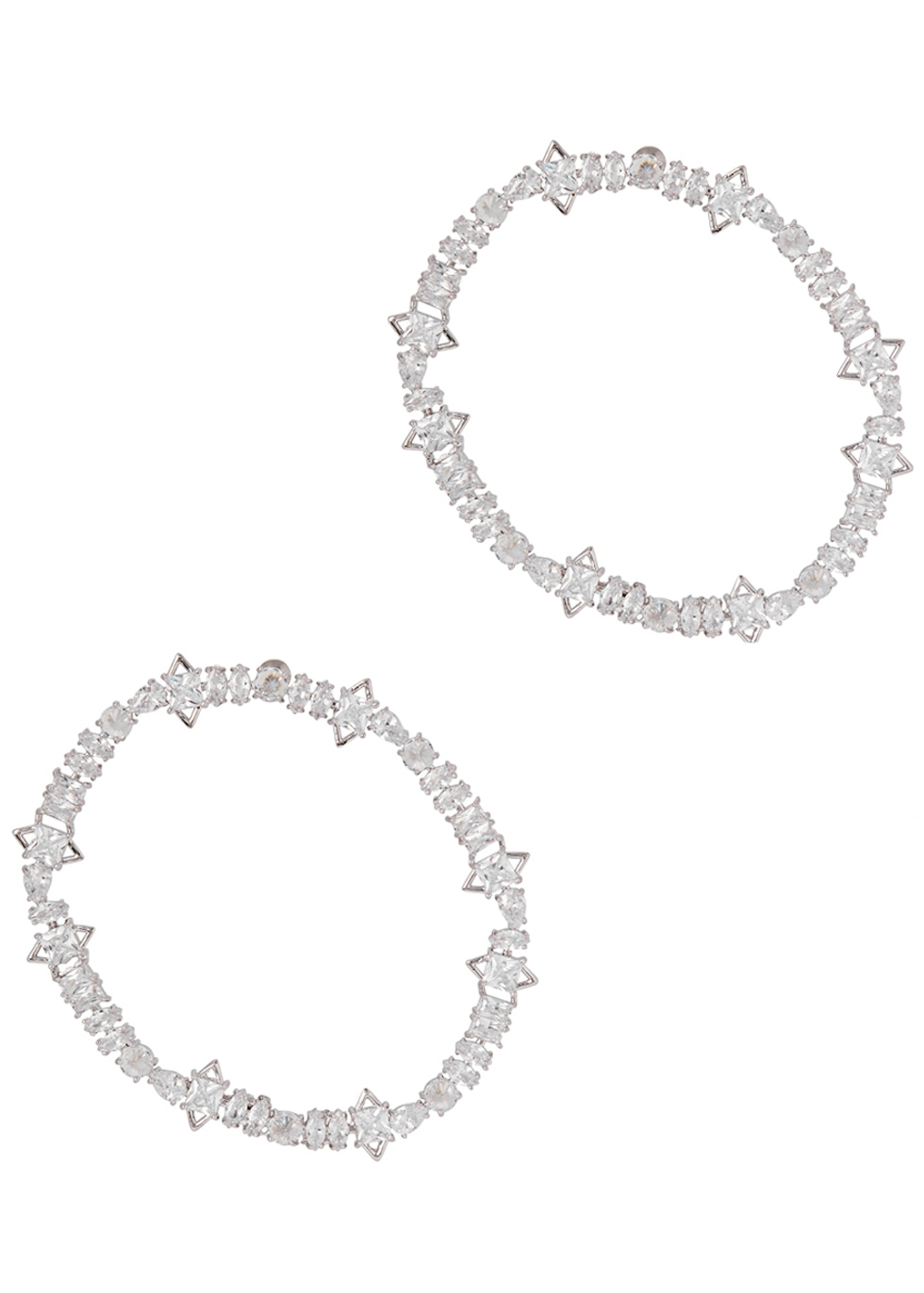 FALLON JAGGED EDGE CUBIC ZIRCONIA HOOP EARRINGS