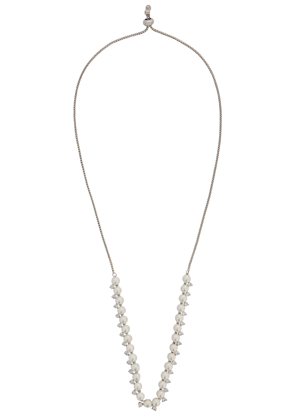 FALLON MICRO PEARL RHODIUM-PLATED BRASS CHOKER