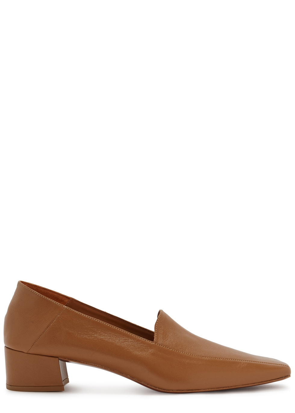 By Far Sabina Tan Leather Loafers, Brown