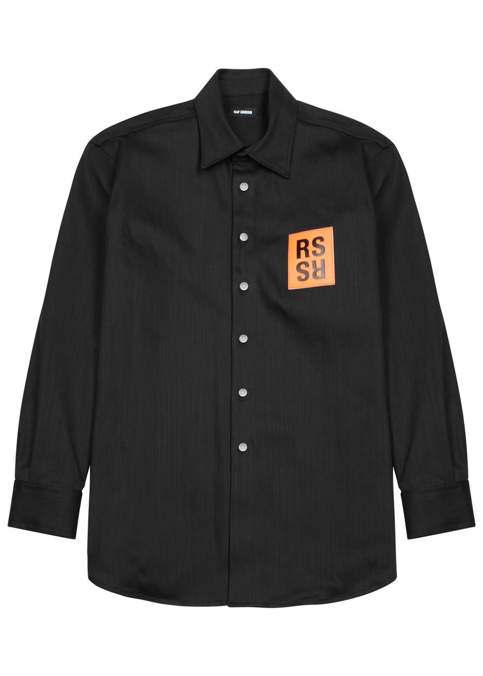 Oversized Logo Patch Denim Shirt In Black