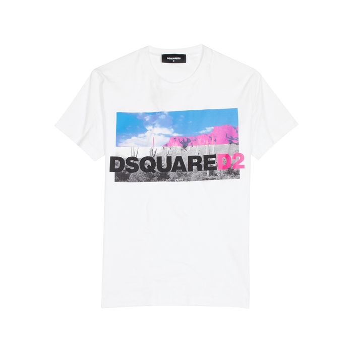 DSQUARED2 White Printed Cotton T-shirt