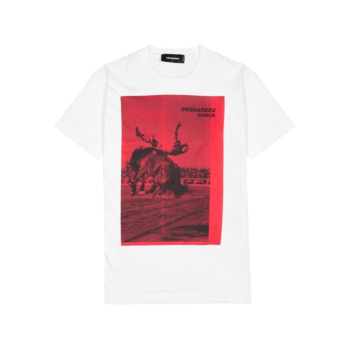 DSQUARED2 Rodeo-print White Cotton T-shirt