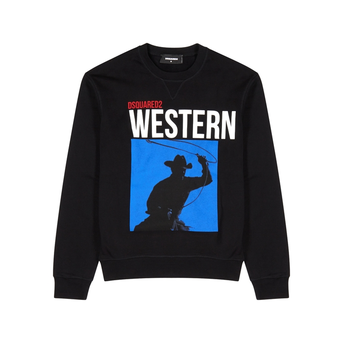 DSQUARED2 Rodeo-print Black Cotton Sweatshirt