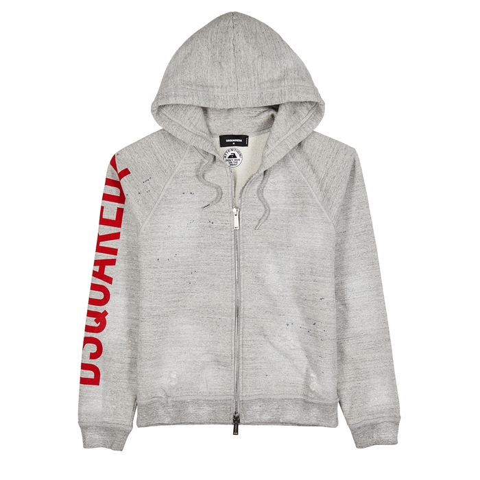 DSQUARED2 Grey Hooded Cotton Sweatshirt
