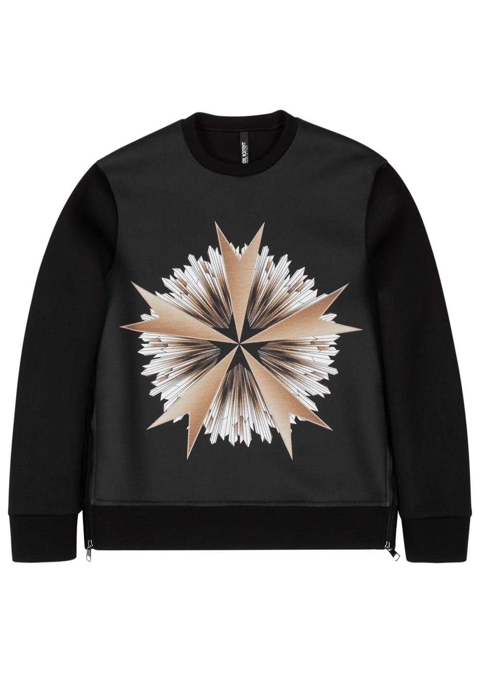 NEIL BARRETT BLACK PRINTED NEOPRENE SWEATSHIRT