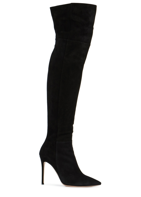84198a48552 Gianvito Rossi 100 black suede over-the-knee boots - Harvey Nichols