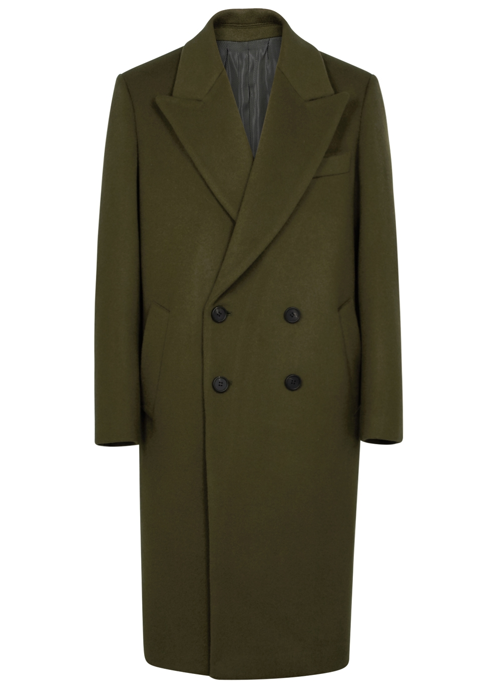 WOOYOUNGMI OLIVE DOUBLE-BREASTED WOOL-BLEND COAT