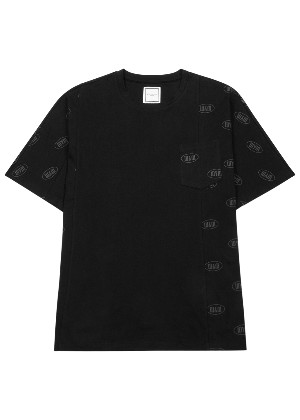 WOOYOUNGMI BLACK LOGO-PRINT COTTON T-SHIRT