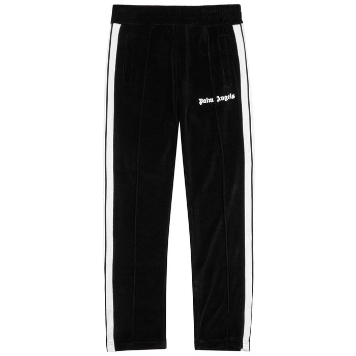Palm Angels Black Striped Velour Jogging Trousers