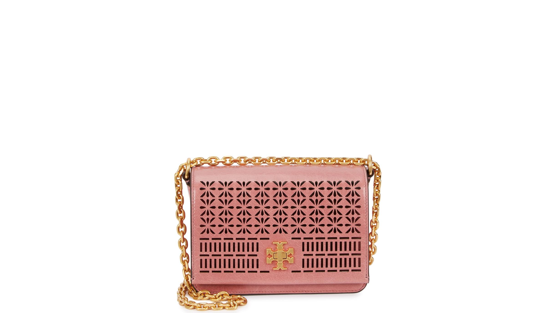 Tory Burch Kira Perforated Pink Leather Shoulder Bag Harvey Nichols Adjustable Chain