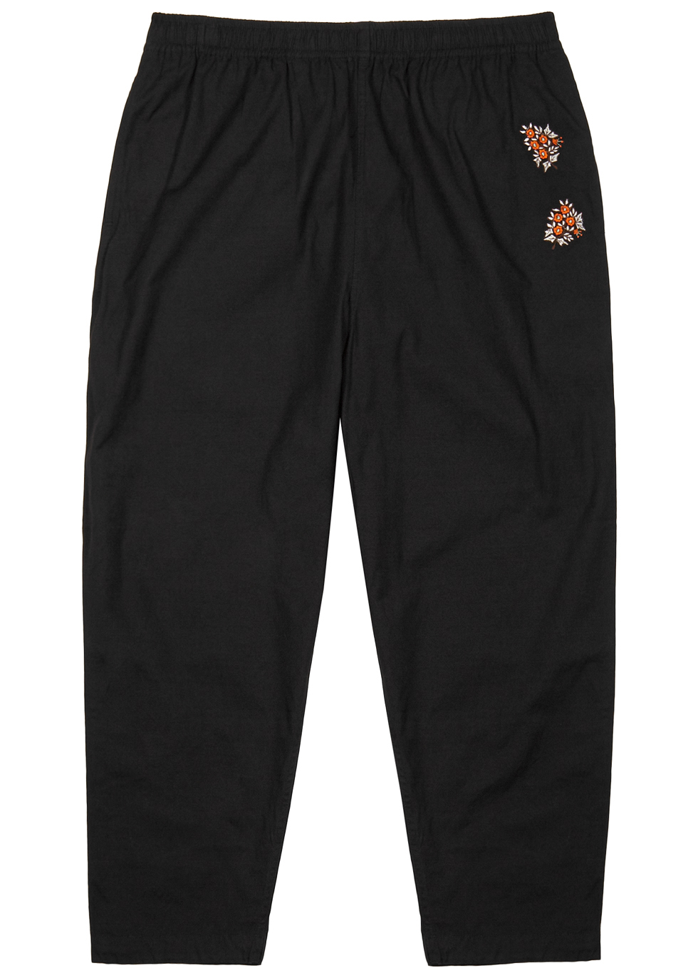 NOMA T.D BLACK FLORAL-EMBROIDERED COTTON TROUSERS