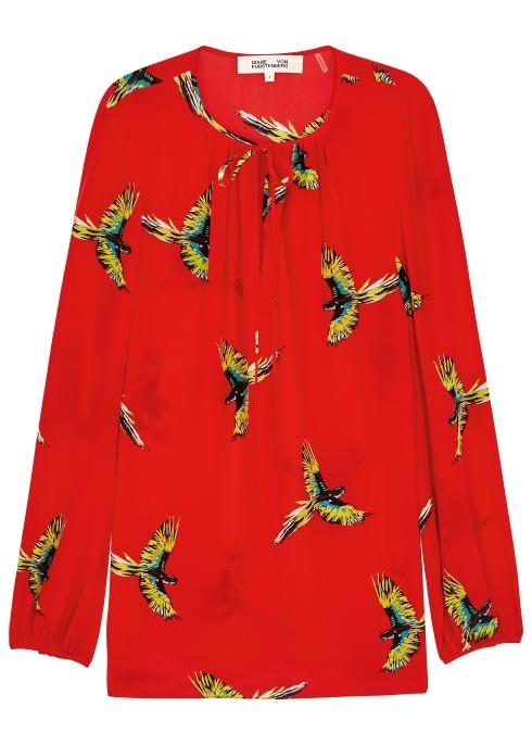 35f2a939c7c568 Diane von Furstenberg Red bird-print silk blouse - Harvey Nichols