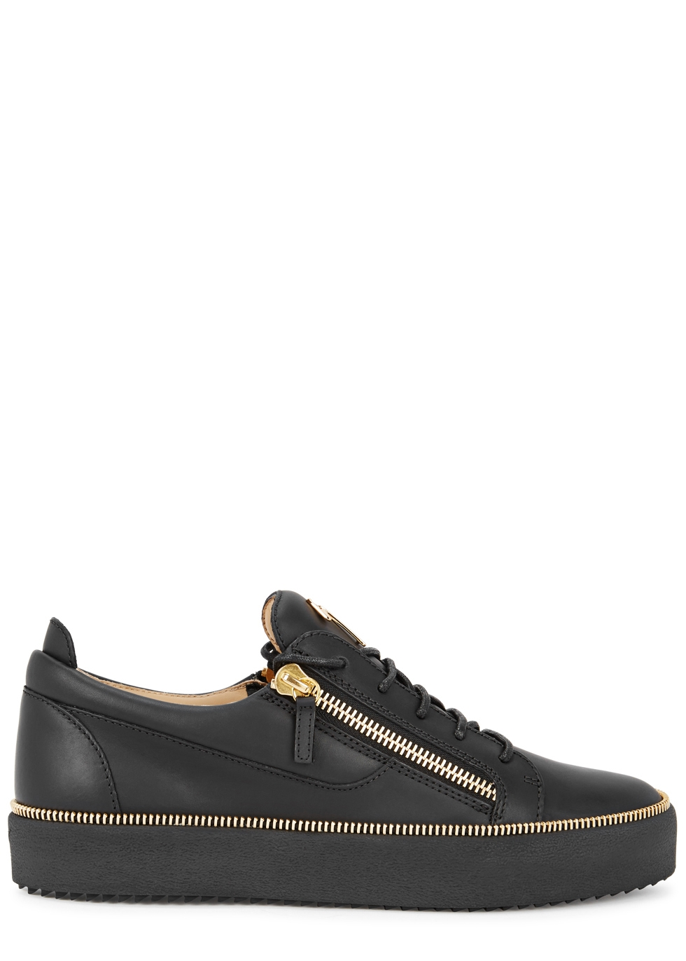 GIUSEPPE ZANOTTI FRANKIE BLACK LEATHER TRAINERS
