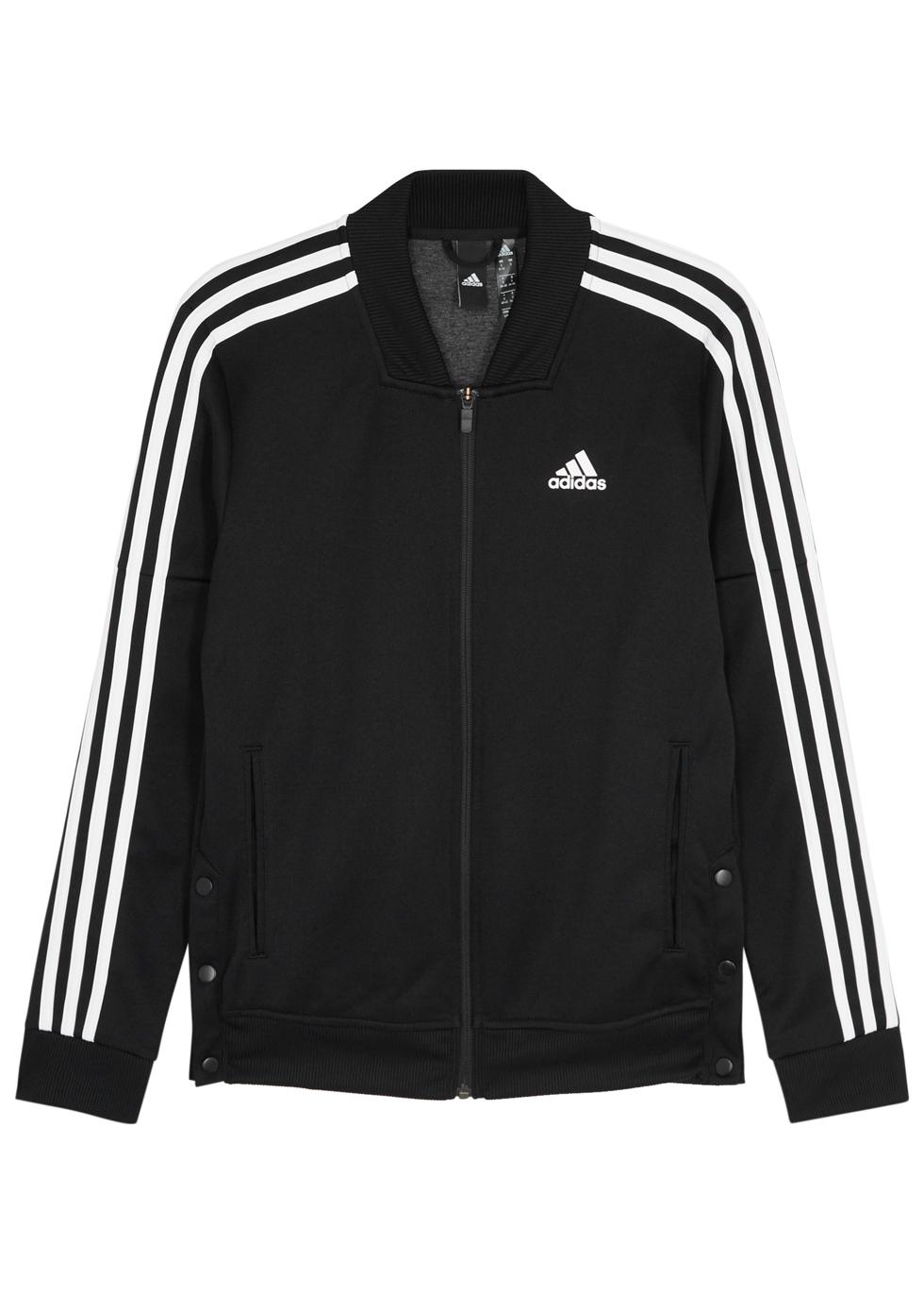ADIDAS TRAINING Adidas Training Snap Track Black Jersey Sweatshirt in Black And White