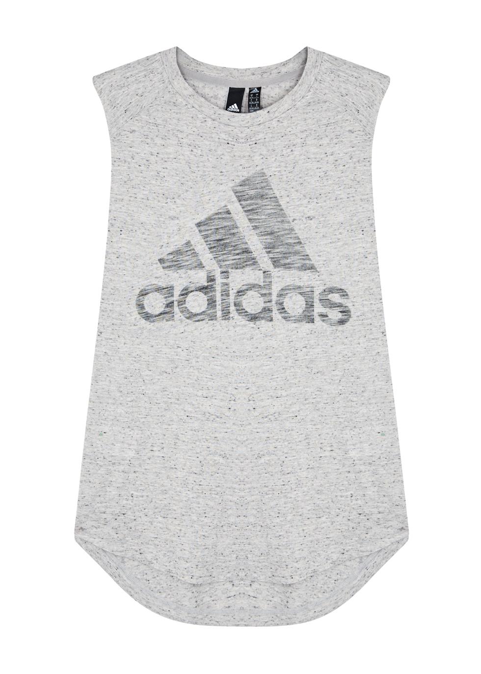 ADIDAS TRAINING Adidas Training Grey Logo-Print Jersey Tank