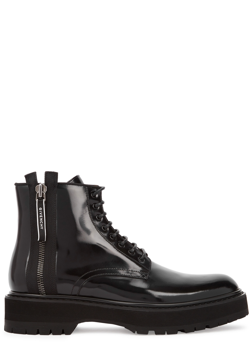 GIVENCHY CAMDEN GLOSSED LEATHER ANKLE BOOTS