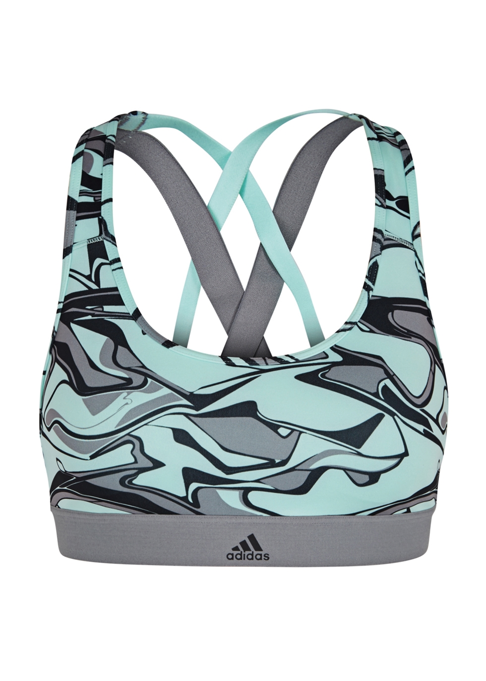 ADIDAS TRAINING Adidas Training Don'T Rest X Printed Jersey Bra Top in Grey