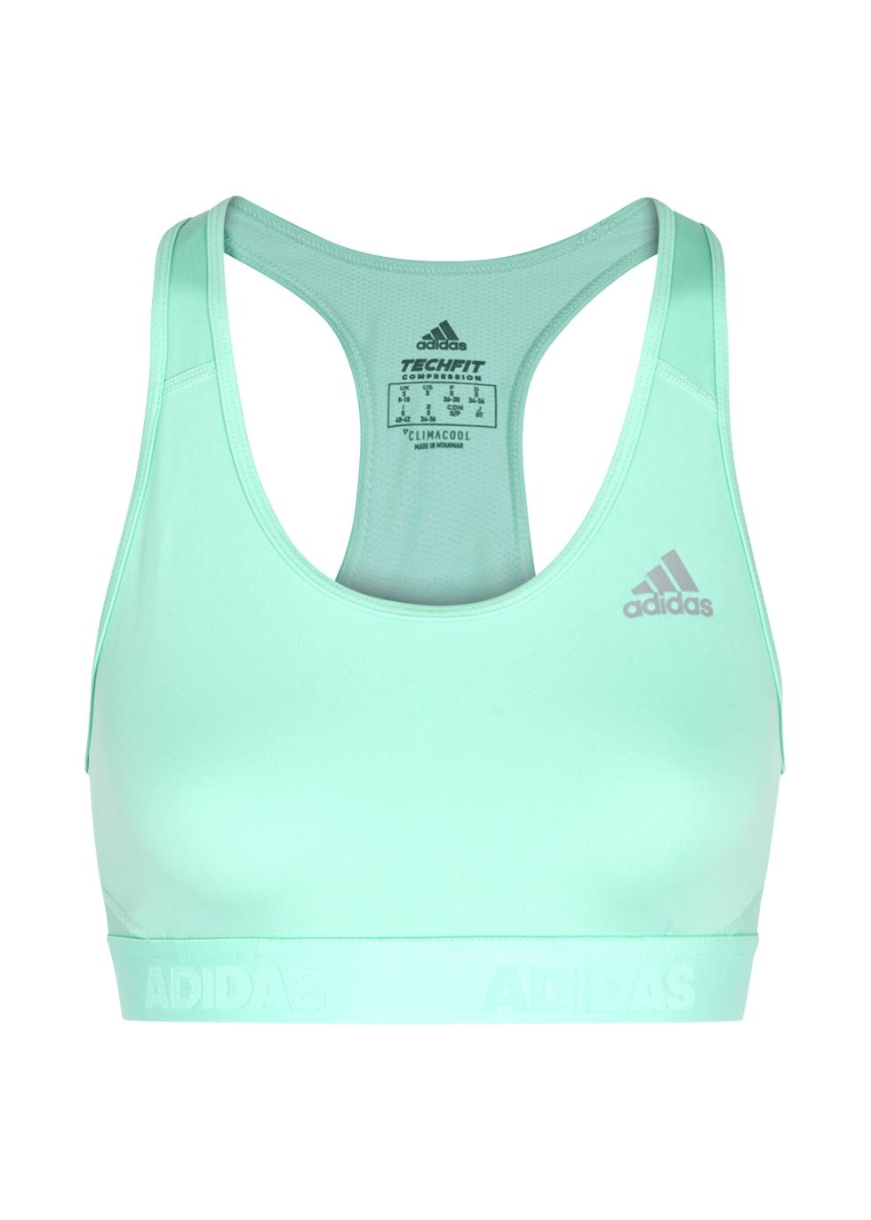 ADIDAS TRAINING Adidas Training Don'T Rest Racerback Jersey Bra Top in Mint